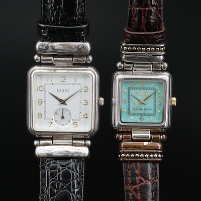 Pair of Ecclissi Sterling Silver and Leather Quartz Wristwatches