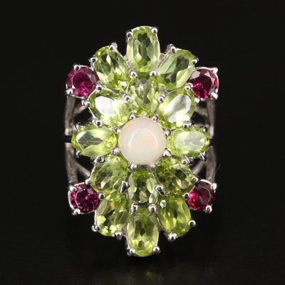 Sterling Silver Opal, Peridot and Rhodolite Garnet Cluster Ring