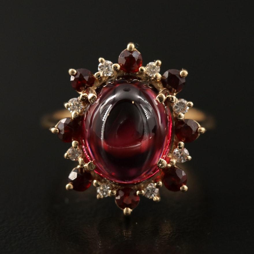 14K Garnet and Diamond Halo Ring