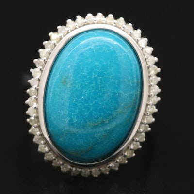 Sterling Silver Turquoise Ring with Diamond Halo