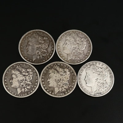 Five Circulated Morgan Silver Dollars
