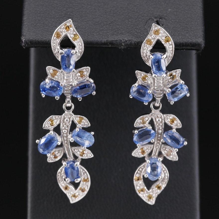 Sterling Silver Kyanite and Sapphire Vine Motif Dangle Earrings