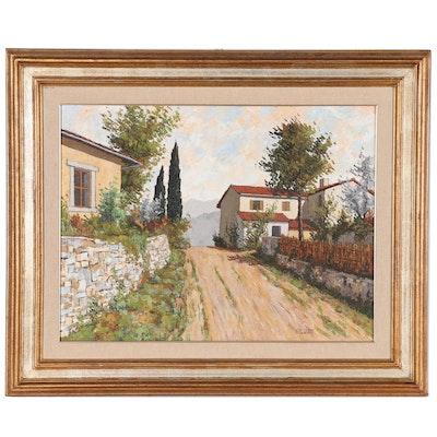"""Renzo Paoletti Oil Painting """"Nel Chianti: Presso S. Donato"""", Late 20th Century"""