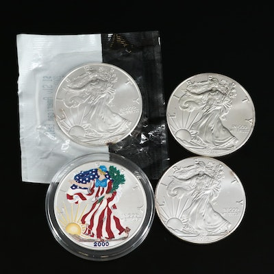Four American Silver Eagle Bullion Coins