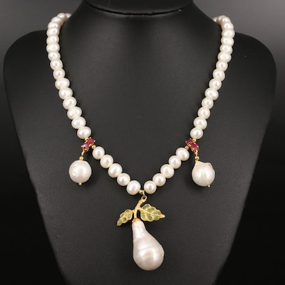 Sterling Pearl, Corundum and Beryl Strand with Pear Motif Pendant Necklace