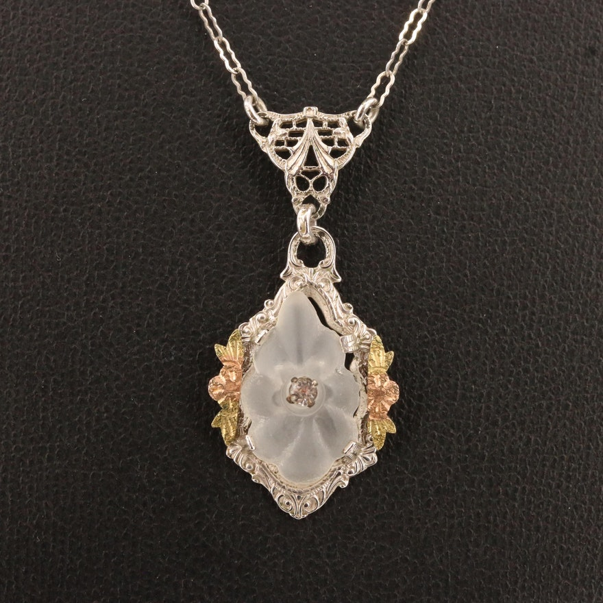 Circa 1930 Rhinestone and Camphor Glass Pendant Necklace