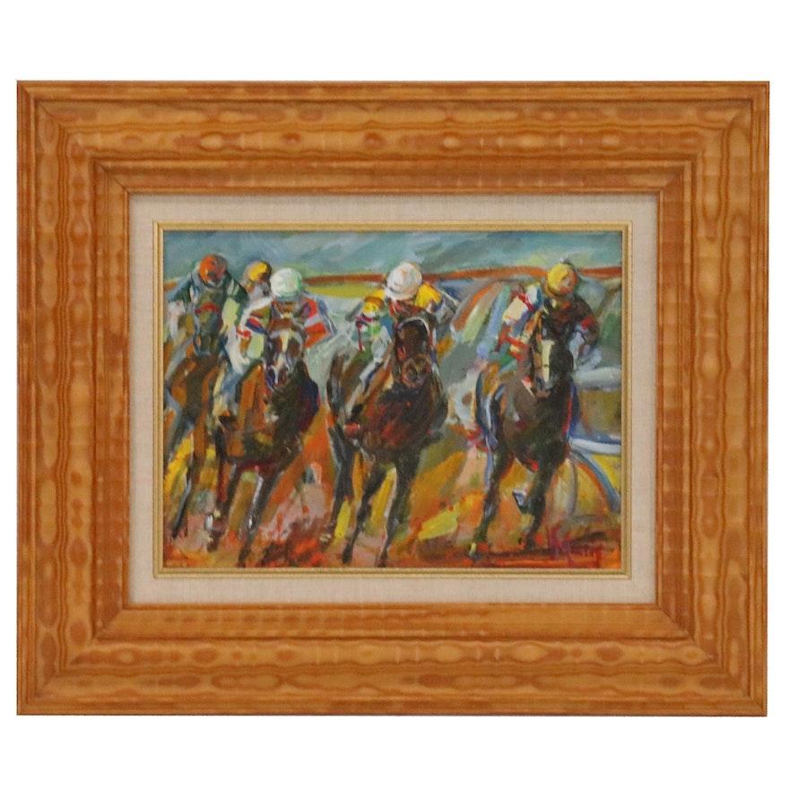 Impressionistic Acrylic Painting of Horse Race