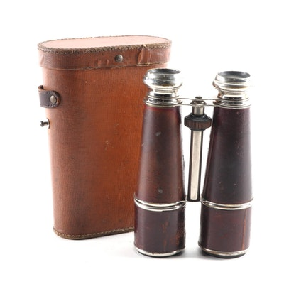 French Military Binoculars with Leather Case, Early 20th Century