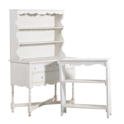 White Painted Cupboard and Bookshelf, Late 19th to Early 20th Century
