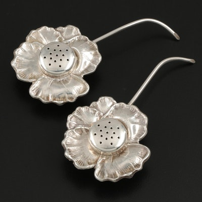Apollo Sterling Silver Flower Form Shakers, Late 19th Century