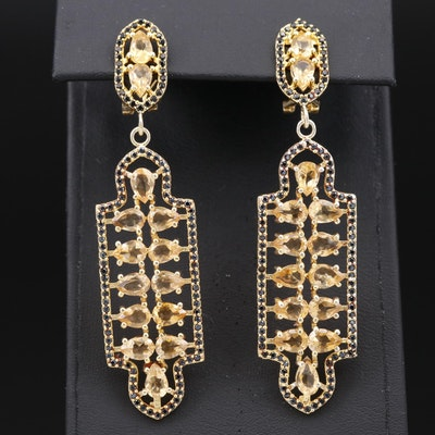 Sterling Silver Citrine and Black Onyx Dangle Earrings with Geometric Design