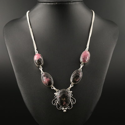 Sterling Silver Rhodonite Stationary Necklace