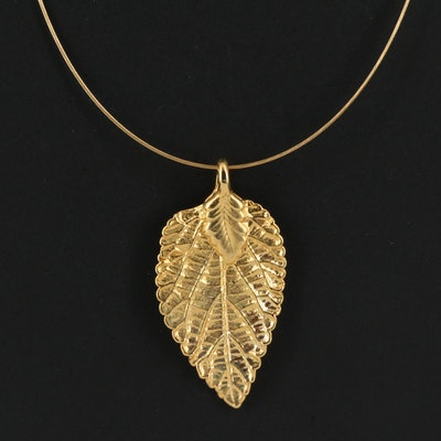 18K Wire Cable Chain with Textured Leaf Pendant