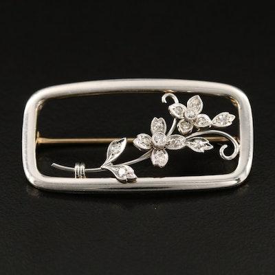 Vintage Krementz 14K Diamond Foliate Brooch