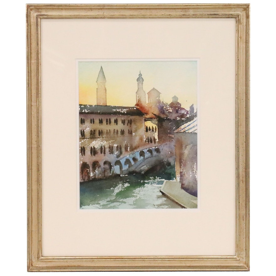 "William Matthews Watercolor Painting of Canal Scene ""Venice"""