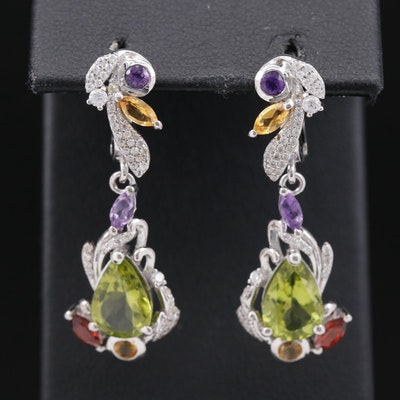Sterling Silver Peridot, Citrine and Amethyst Dangle Earrings