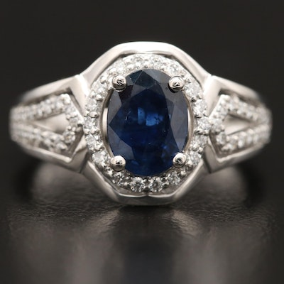 Platinum 1.51 CT Sapphire and Diamond Halo Ring