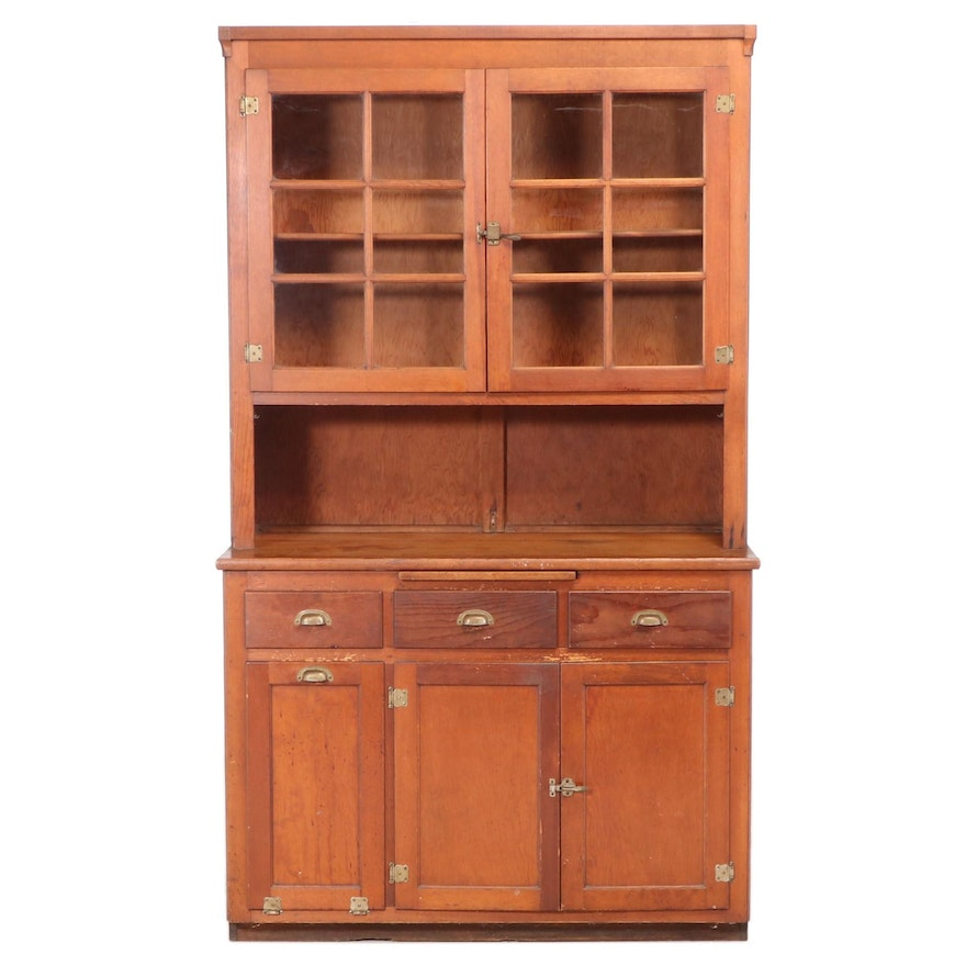 American Cherry-Finished Pine Kitchen Cupboard, Early to Mid 20th Century