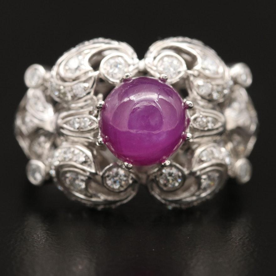 Platinum 3.55 CT Ruby and Diamond Ring