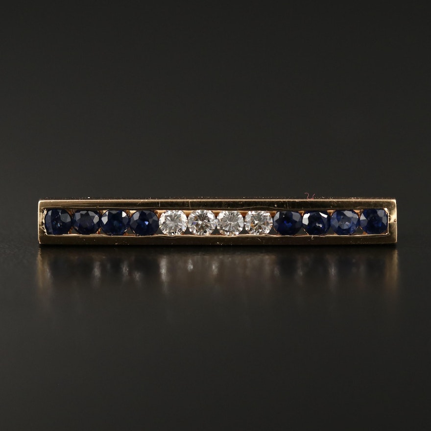 14K Round Faceted Sapphire and Diamond Bar Brooch