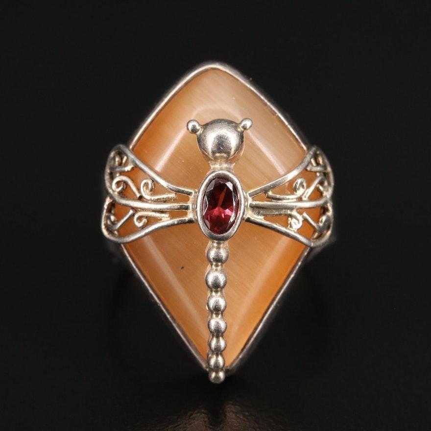 Sajen Sterling Fiber Optic Glass and Garnet Dragonfly Open Ring