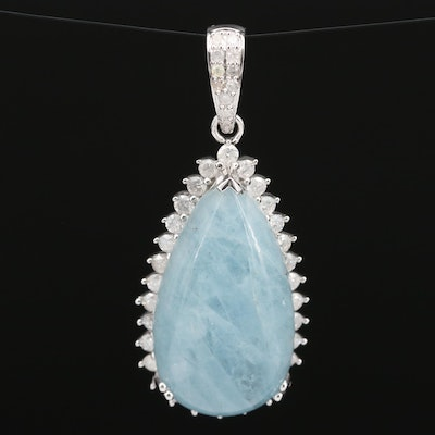 Sterling Silver Aquamarine and 1.05 CTW Diamond Teardrop Halo Pendant