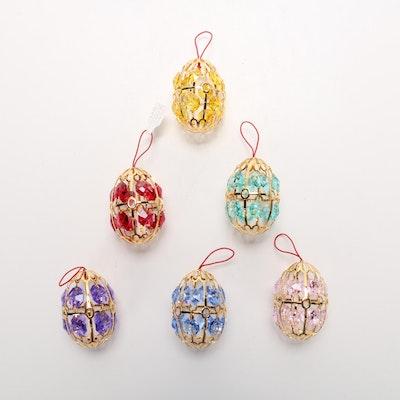 Fabergé Swarovski Crystal Eggs Ornaments, Set of Six