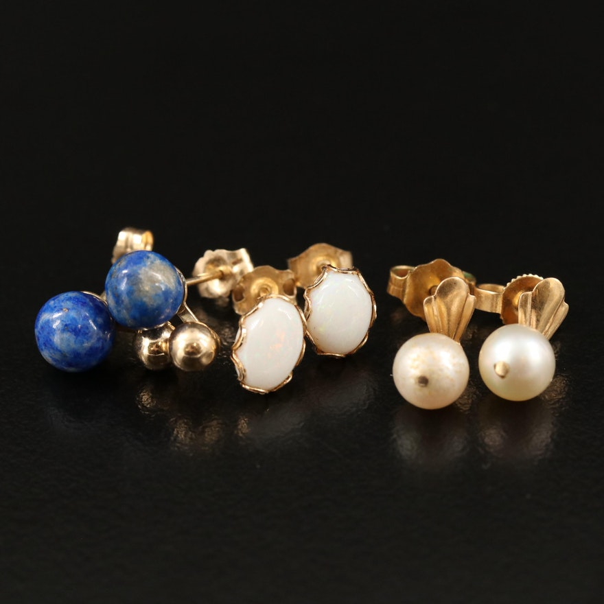 14K Stud Earrings with Pearl, Lapis Lazuli and Opal