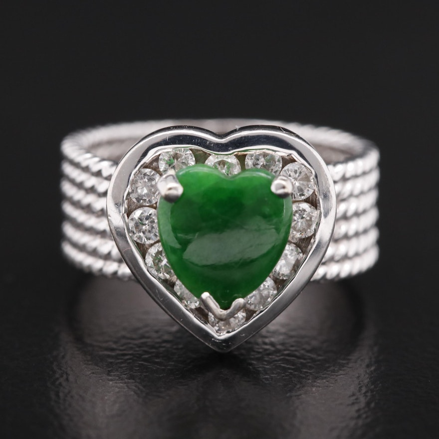 14K Heart Jadeite Cabochon and Diamond Ring with Rope Band