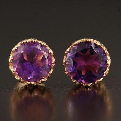 10K Coronet Set Amethyst Stud Earrings