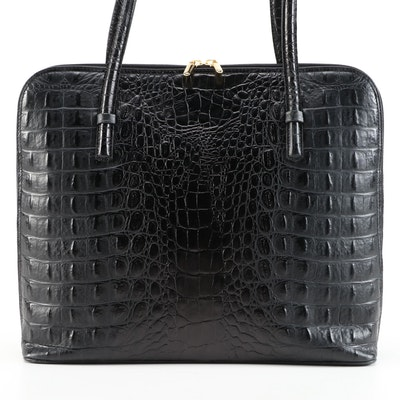 Algo Top Handle Bag in Black Crocodile Embossed Leather
