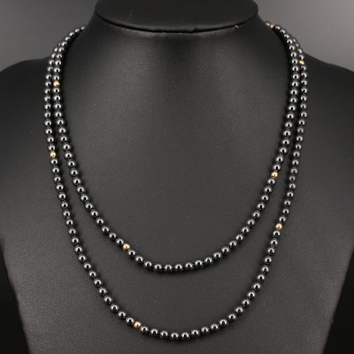 Endless Imitation Hematite Beaded Necklace with 14K Spacer Beads