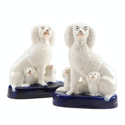 Staffordshire Poodle and Pups Figurines, Mid to Late 19th Century