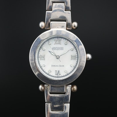 Ecclissi MOP Dial with Interchangeable Bezel Sterling Silver Quartz Wristwatch
