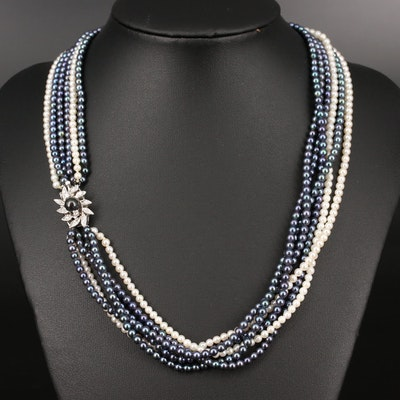 14K Multi-Strand Pearl and Diamond Necklace