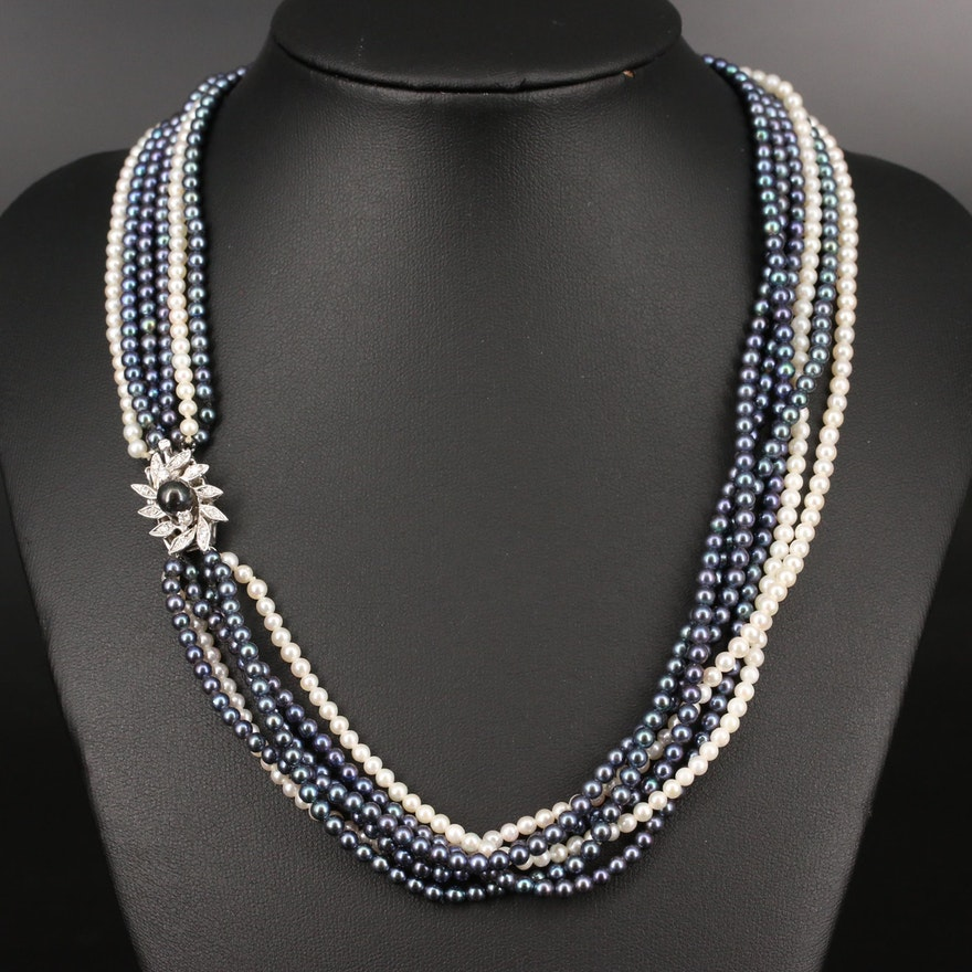 14K Multi-Strand Pearl and Diamond Necklace
