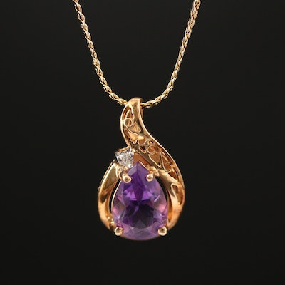 14K Amethyst and Diamond Pendant Necklace