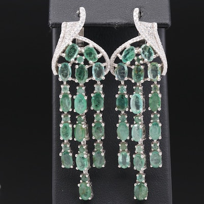 Sterling Emerald and Cubic Zirconia Tassel Dangle Earrings