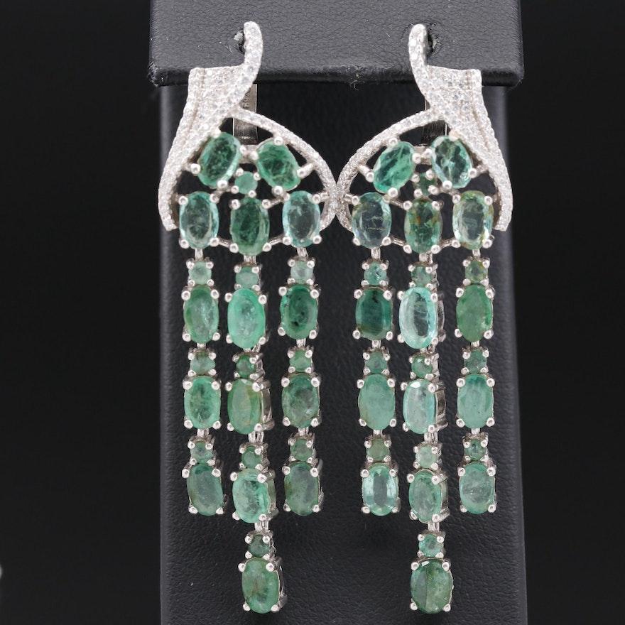 Sterling Emerald and Cubic Zirconia Tassel Dangle Earrings