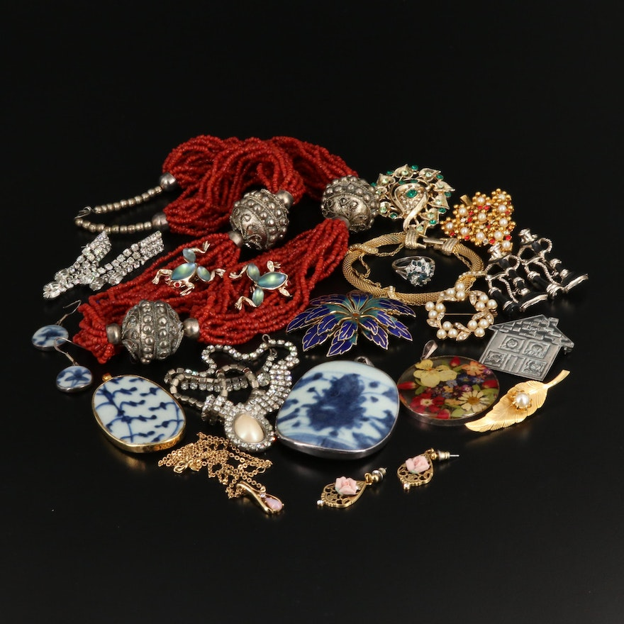 Assortment of Jewelry Including Sterling and Repurposed Pottery Pieces