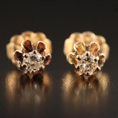 Vintage 14K 0.18 CTW Buttercup Set Diamond Stud Earrings