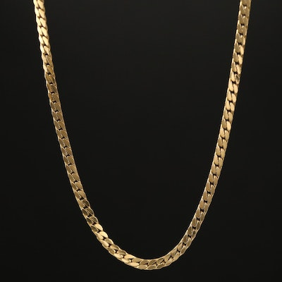 18K Flat Curb Link Chain Necklace with 14K Clasp