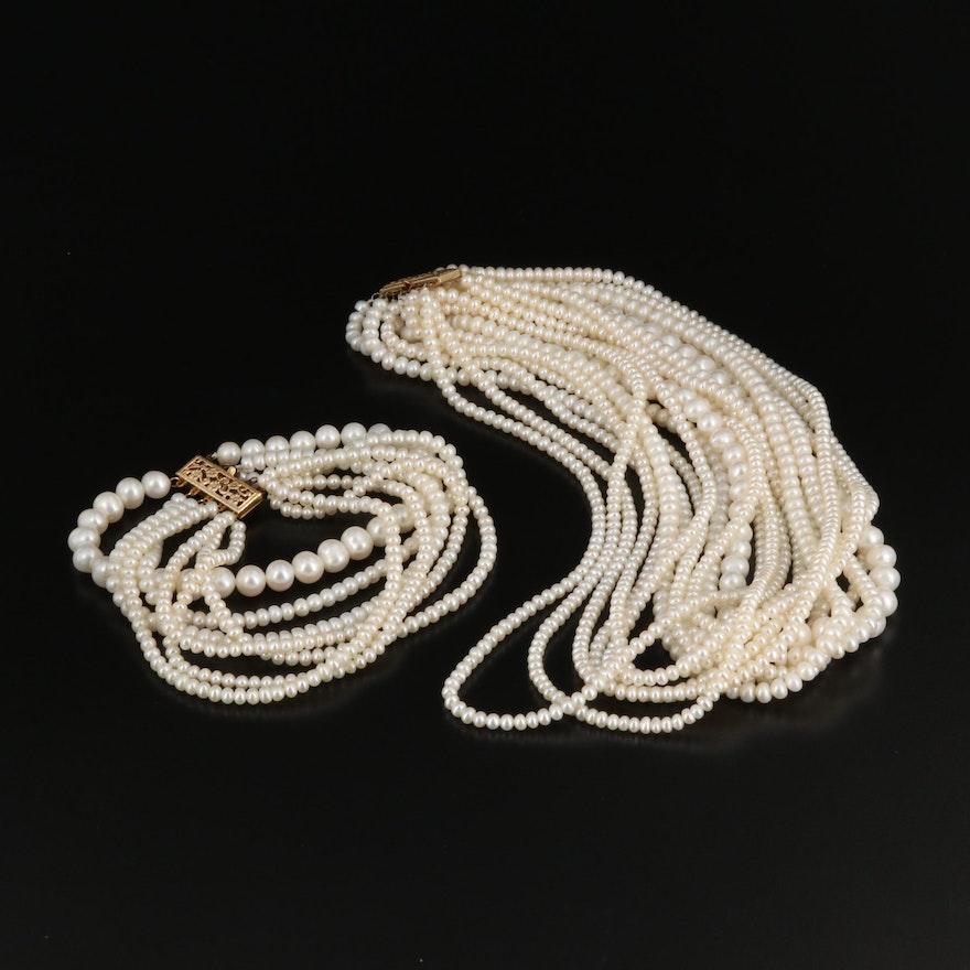 Pearl Torsade Necklace and Multi-Strand Bracelet
