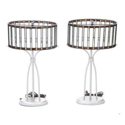Pair of Contemporary Metal Table Lamps with Slag and Stained Glass Shades