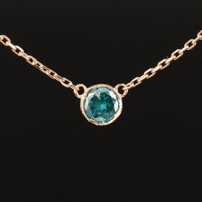 18K Bezel Set 0.39 CT Diamond Necklace