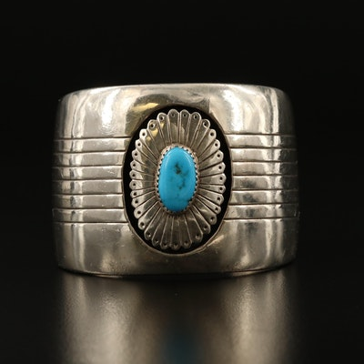 Vintage Henry Mariano Navajo Diné Sterling Silver Turquoise Cuff