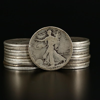 Twenty Walking Liberty Silver Half Dollars, 1917 to 1943