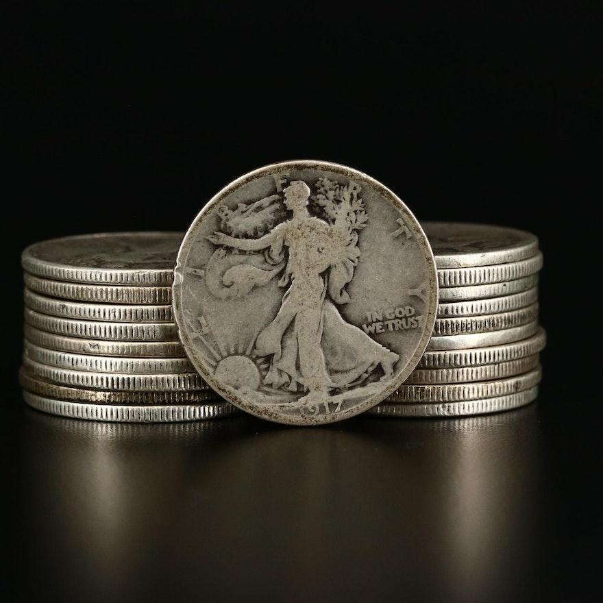 Twenty Walking Liberty Silver Half Dollars, 1917 to 1943