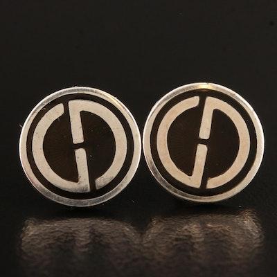 Gucci Sterling Guilloche Logo Earrings