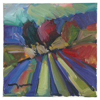 """Jose Trujillo Abstract Oil Painting """"Long Shadows"""", 2010"""